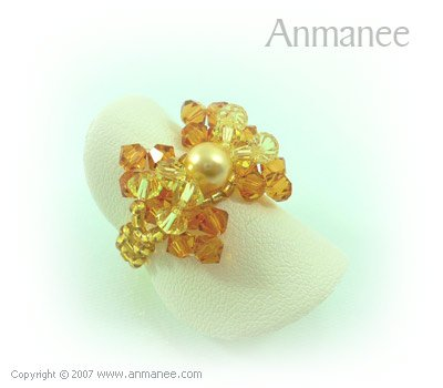 Handcrafted Swarovski Crystal - Ring Bow 010420