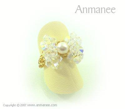 Handcrafted Swarovski Crystal - Ring Bow 010422