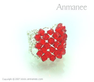 Handcrafted Swarovski Crystal Ring - Square 010471