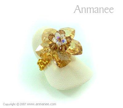 Handcrafted Swarovski Crystal Ring - Celadine Hearts 010430
