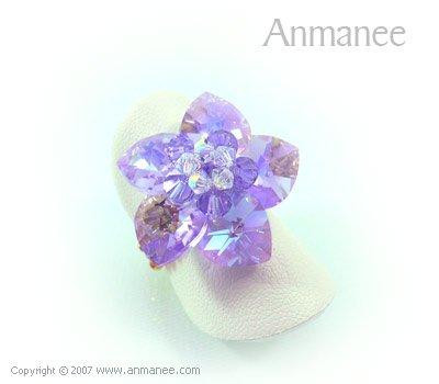 Handcrafted Swarovski Crystal Ring - Celadine Hearts 010432