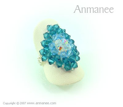Handcrafted Swarovski Crystal Ring - Diamond 010442