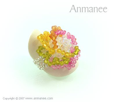Handcrafted Swarovski Crystal Ring - Rose 010464