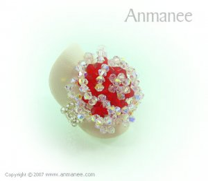 Handcrafted Swarovski Crystal Ring - Rose 010465