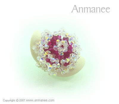 Handcrafted Swarovski Crystal Ring - Rose 010467