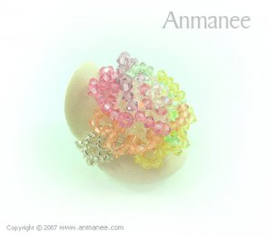 Handcrafted Swarovski Crystal Ring - Rose 010469