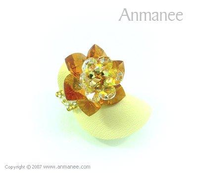 Handcrafted Swarovski Crystal Ring - Cactus 010425