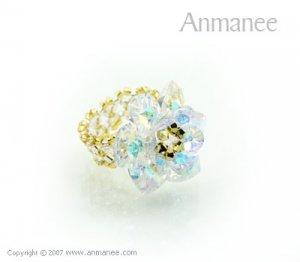 Handcrafted Swarovski Crystal Ring - Cactus 010426