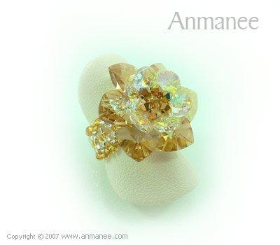 Handcrafted Swarovski Crystal Ring - Cactus 010427