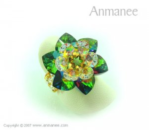 Handcrafted Swarovski Crystal Ring - Cactus 010428