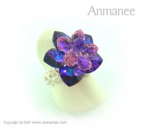 Handcrafted Swarovski Crystal Ring Bloom 01041