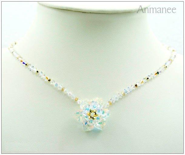 Handcrafted Swarovski Crystal Necklace - Cactus Pendant 01016