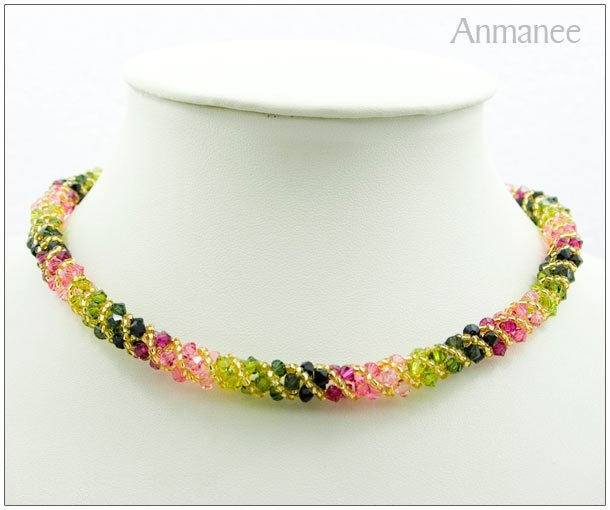 Handcrafted Swarovski Crystal Necklace - Twist-S 010114