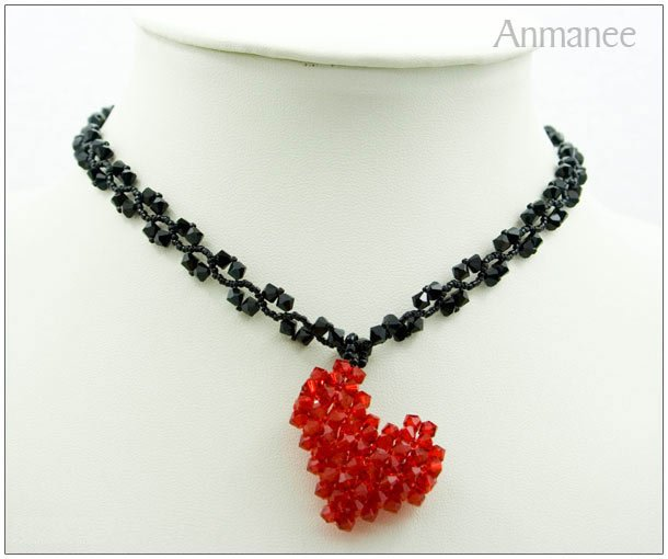 Handcrafted Swarovski Crystal Necklace Heart Pendant 010116