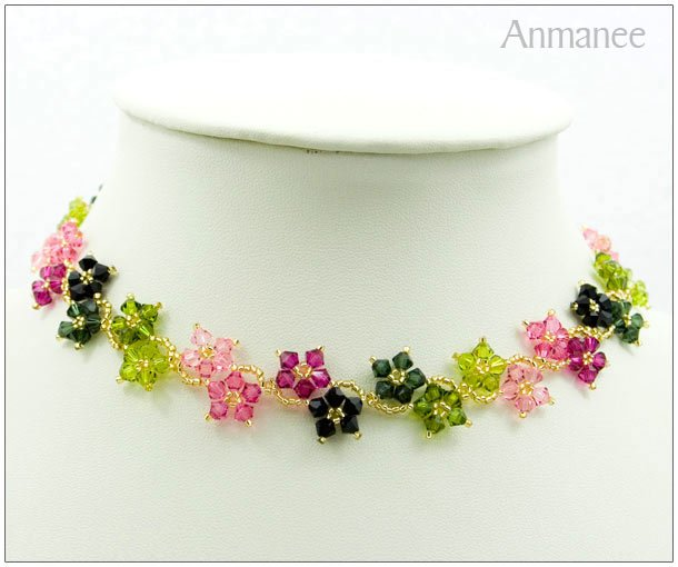 Handcrafted Swarovski Crystal Necklace Crawling Stars Full 010120