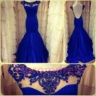 2014 Blue lace prom dress, formal cocktail dress, evening dress