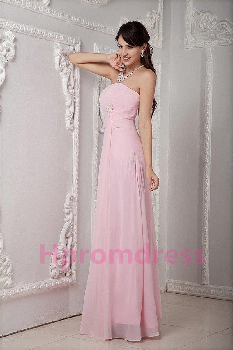 2014 pink strapless long prom dress, formal cocktail dress, long evening dres,