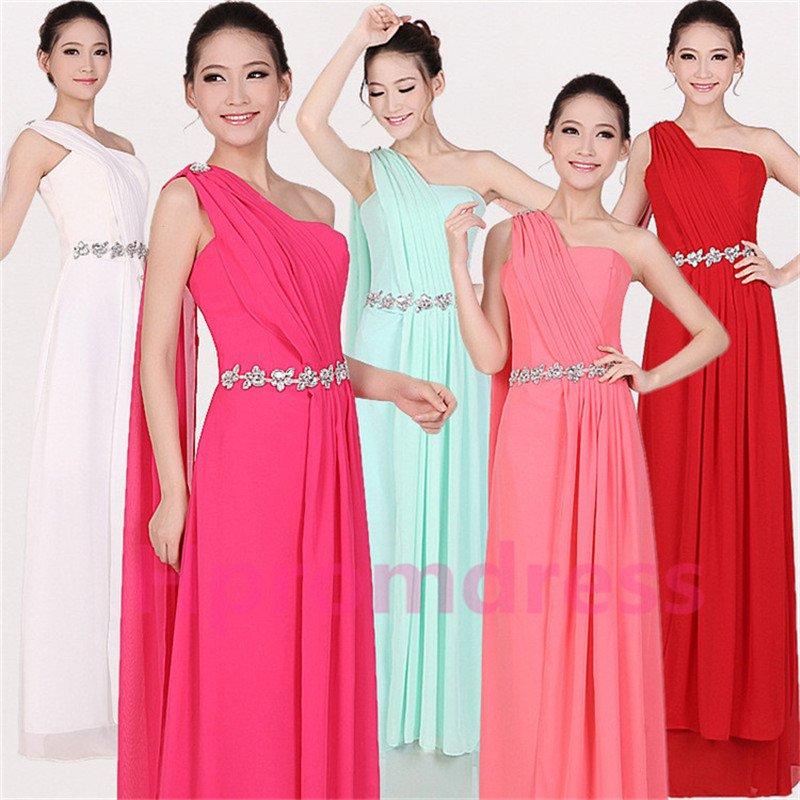 2015 New one-shoulder Streamer bridesmaid dress long formal proms evening dresses