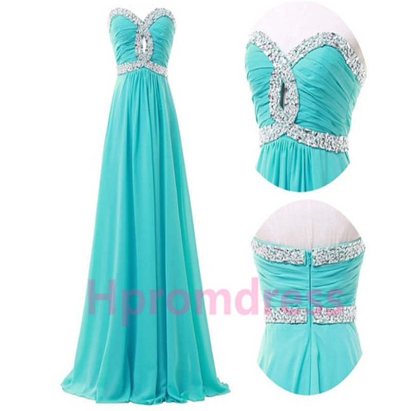 New beads straples party dress long formal evening dresses long prom dress