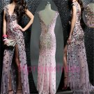 2015 New sexy V-neck sequins side front prom  cocktail dress formal evening party dresses