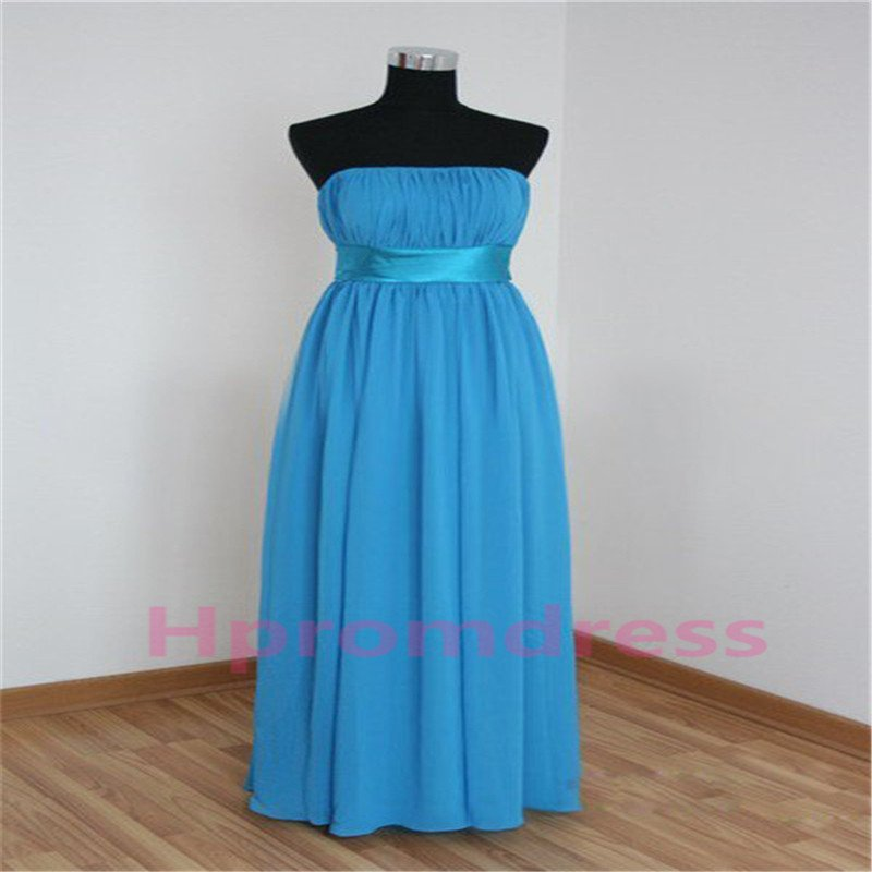 New Hot strapless blue bridesmaid dress custom size color long evening dress