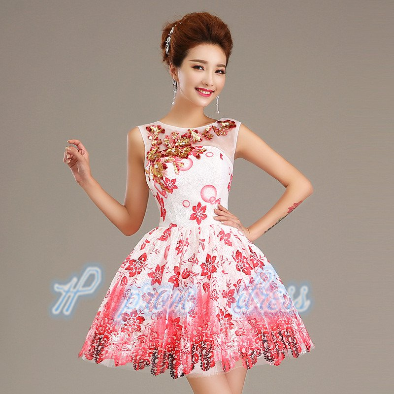2015 New lace beads Soft Network short prom Dress Bridesmaid Dress