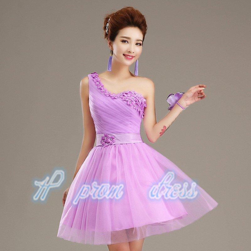 2015 New champagne one shoulder short prom Dress short knee length Bridesmaid Dress