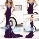 2015 Purple Backless Chiffon Prom Party Gowns  Sweetheart Beaded Mermaid Evening Dresses