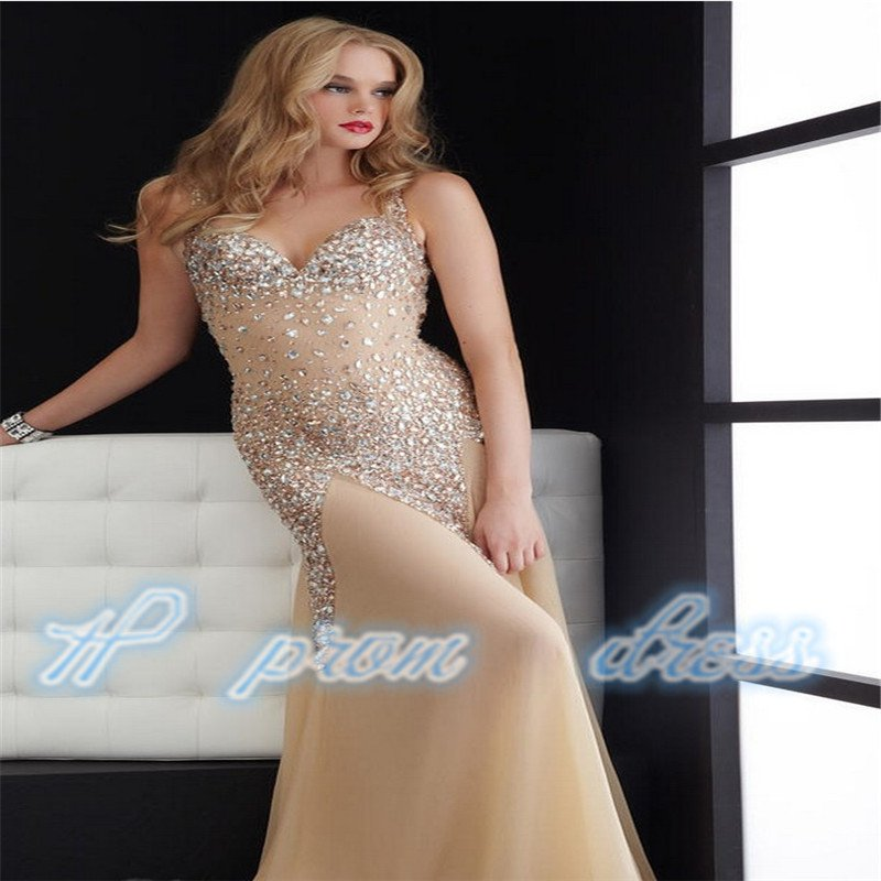 Fashion Sweetheart Crystal Floor-length Chiffon Sexy Long Prom Dresses