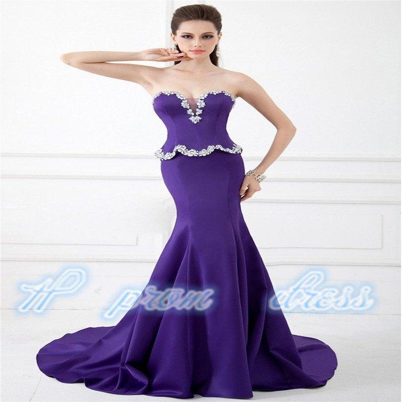 2015 New Floor Length Gown Sweetheart Crystal Beautiful Mermaid Long Prom Dresses
