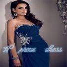 2015 New blue chiffon Formal Ball Long Wedding/Evening Dress Bridal Party Gown Prom custom