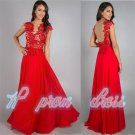 Red Chiffon Long Formal Evening Dresses Party Pageant Prom Gowns