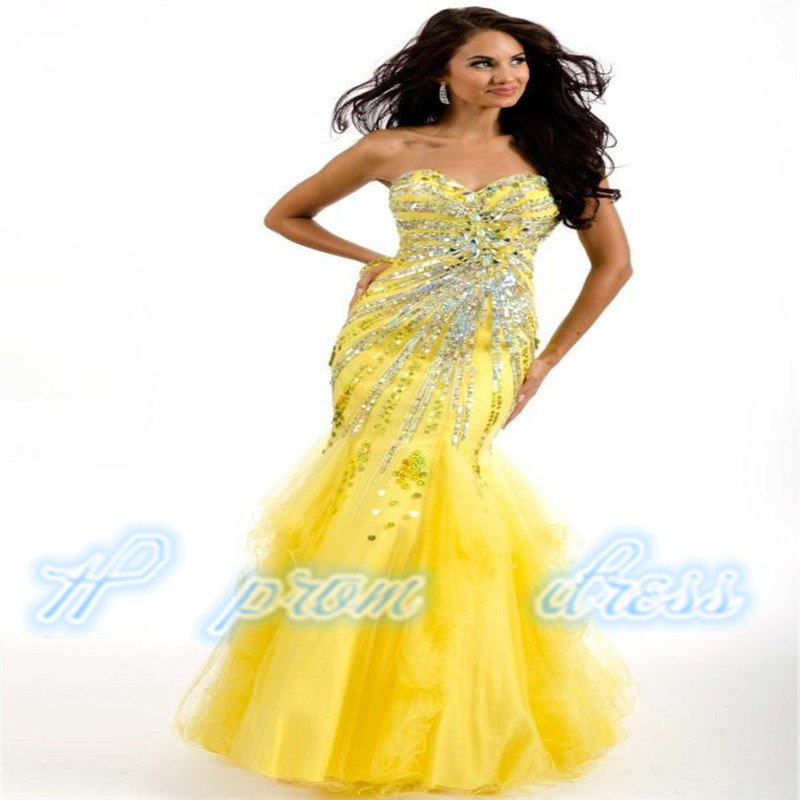 Luxury Mermaid Yellow Bead Sequines Lady Pageant Dress Evening Party Prom Gown