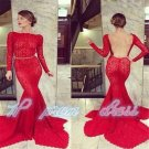 Long Sleeve red Backless Mermaid Prom Dress Party Gown Formal Evening Dresses
