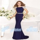 New Beads Boat Neck Long Pageant Evening Ball Bridal Party Gown Wedding Dress