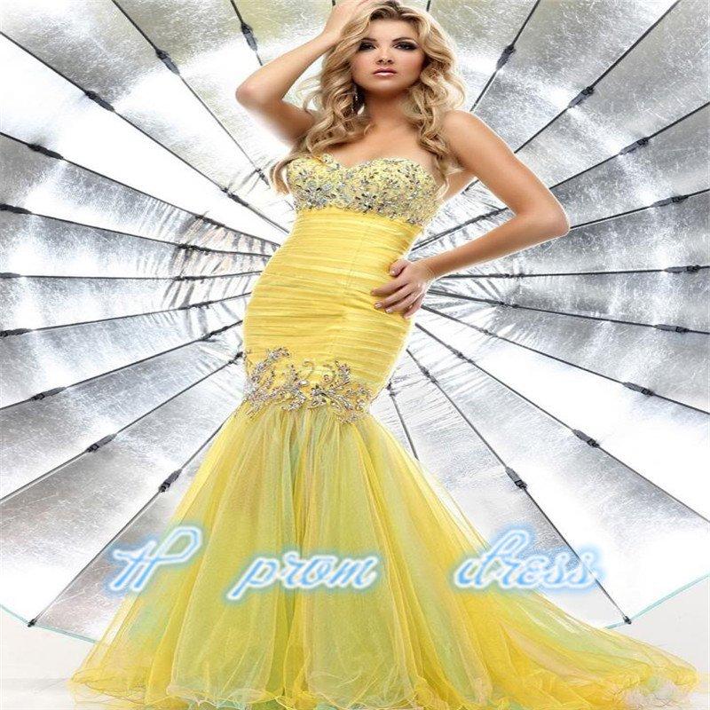 Yellow Mermaid Beaded Tulle Homecoming Formal Evening Dress Senior Prom