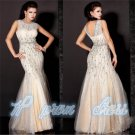 2015 Beading Lace Mermaid Bridal Wedding Ball Prom Gown Formal Evening Dress