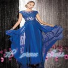 Blue Lace Applique Long Chiffon Evening Dress Formal Prom Wedding Party Dress