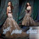Ivory/Cafe Tulle Lace Applique V-neck Wedding Dresses Mermaid Bridal Gown Dress