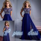 2015 New Style Custom Size Jewel Beaded Chiffon Prom Gowns Long Evening Dresses