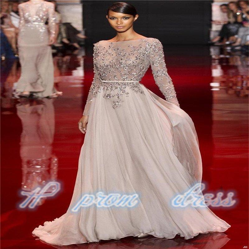 New Design Heavy Beaded Custom Formal Long Sleeve Prom Evening Dresses