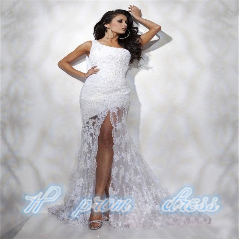 Sexy One-shoulder Split Lace Bridal Wedding Party Evening Gown Celebrity Dress
