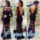 Sexy Black Lace Long Sleeve Backless Prom Dress Wedding Formal Evening Long Gown