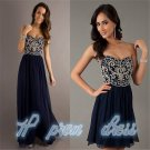 Stock Navy Blue Long/Short Style Formal Party Bridesmaid Evening Dresses