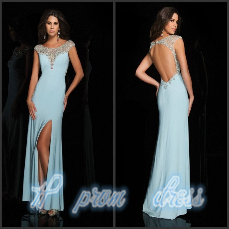 2015 Sexy Open Back Slim Sheath Split Side Long Chiffon Crystal Prom Dresses