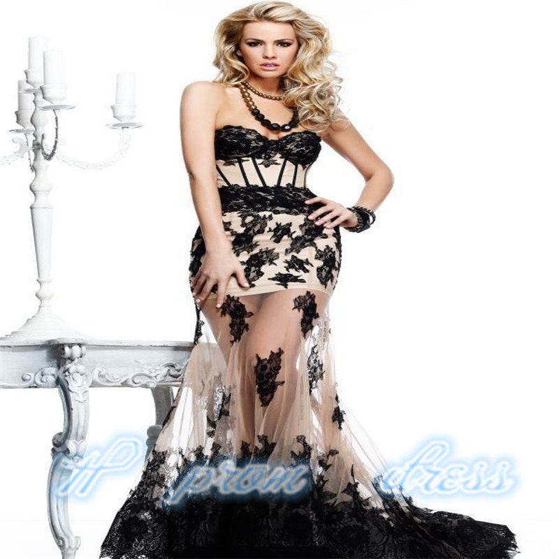 New Long Black Applique Evening Ball Gown Formal Prom Party Dresses
