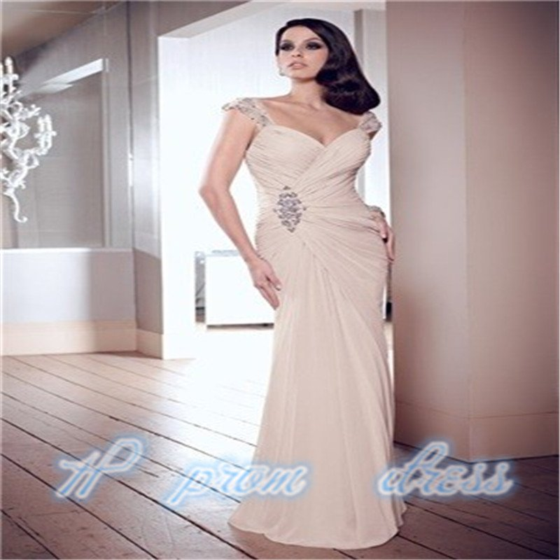 2015 Chiffon Cap Sleeve Long Formal Prom Dresses Party Bridesmaid Evening Gowns