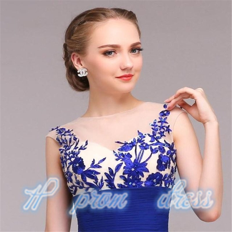 Long Blue applique Prom Gown Evening/Formal/Party/Cocktail/Prom Dress