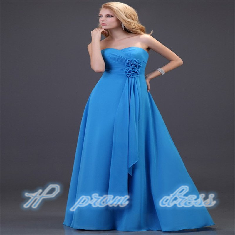 Strapless Chiffon Bridesmaid Gown Ball Party Prom Evening Dress