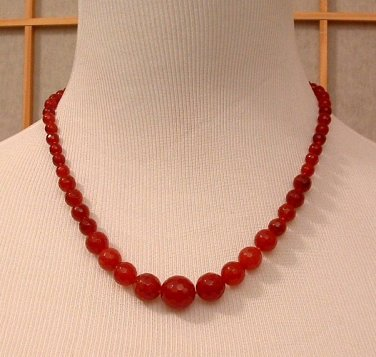 Necklace Beaded 19 inch Genuine Red Ruby Round Faceted Graduated 6-14mm